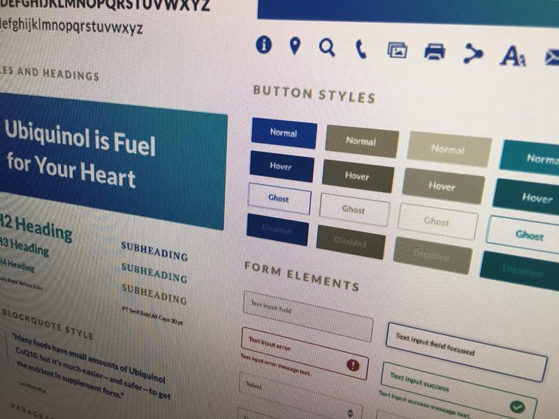 Mood board for a nutritional supplement manufacturer branding teal blue coq10 ubiquinol ui ux mood board website