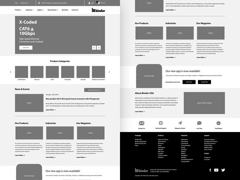 Binder — Home Page Wireframe wire desktop ui user interface ux website wireframe