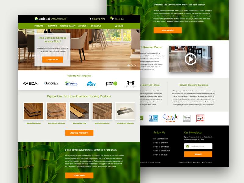 Ambient Bamboo Floors — Home Page Mockup ecommerce flooring bamboo green mockup desktop ui user interface ux website