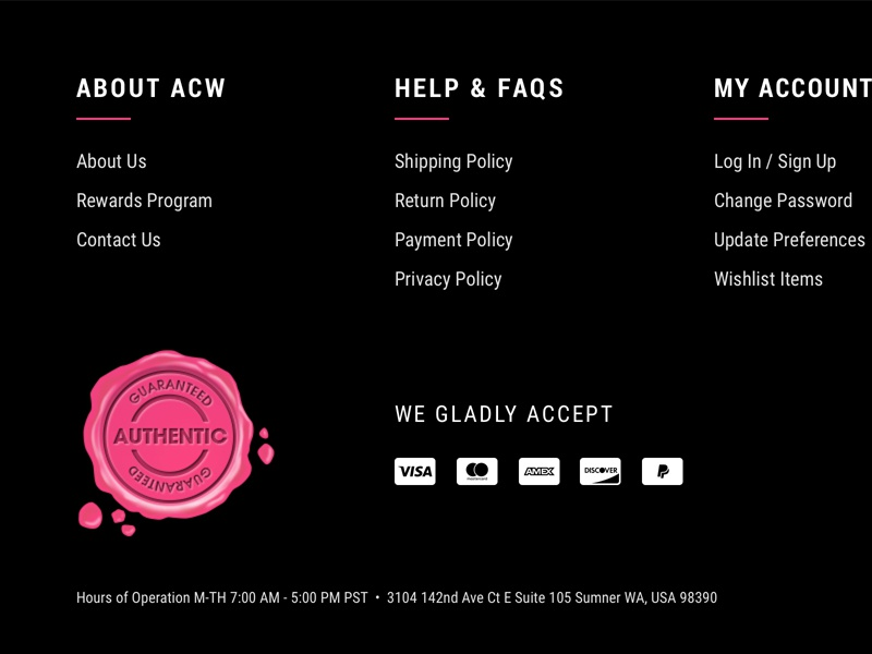 ACW — Footer ecommerce cosmetics makeup black pink user interface ui ux website footer