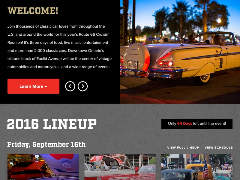 Route 66 Cruisin' Reunion — Mockup hot rod car show classic cars classic cars car user experience user interface ux ui website mockup