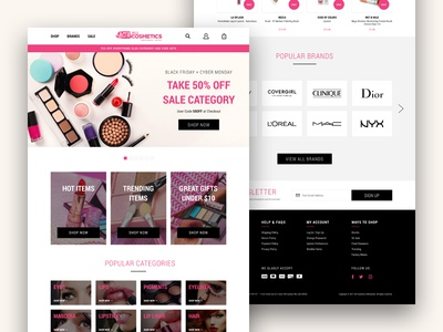 ACW — Home Page Concept pink ecommerce cosmetics makeup beauty desktop website ui ux