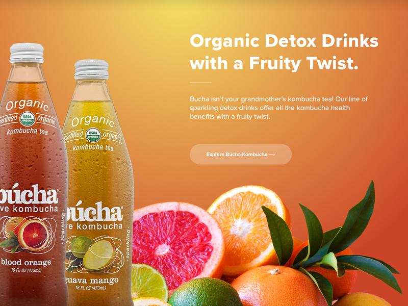New Age Beverages — Búcha Kombucha gradient tea beverage fruity fruit kombucha orange colorful bright