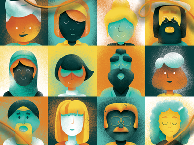 Great King progress VIII corona population diversity humans people faces texture kids childrens book illustration