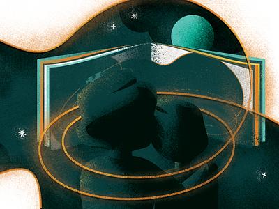 Great King Progress X - b wip stars sky reading space planets kids childrens book vector design illustration