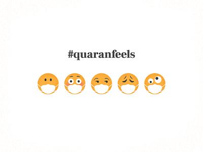 The Quaranfeels silly struggle feels social distancing covid 19 quarantine vector illustration emoji