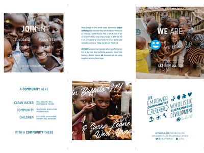LTLOL Brochure Redesign trifold let them lol hierarchy minimal branding charity nonprofit clean water redesign promo brochure