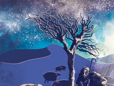 Sneak Peek WIP desert light shadows tree sheep shepherds sky nebula photoshop illustrator texture vector illustration