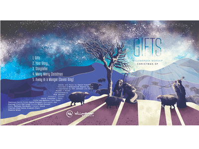 Gifts Willowbrook EP beam shadow stars gifts ep album tree light christmas shepherds sheep texture vector church illustration