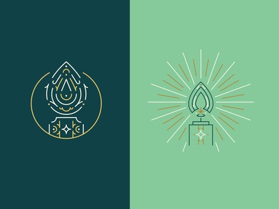 Christmas Eve Candle Initial Illustrations