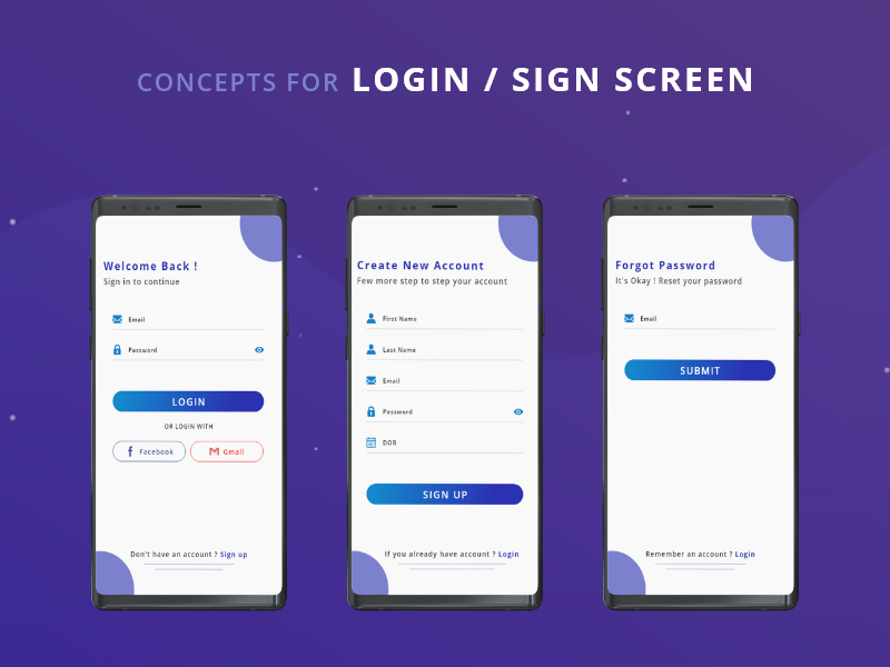 Login And Sign up Screen mobile mockup creative  design adobe xd photoshop blue and white gradient graphic design graphic forgot password sign up page login page signup app design uiux design app ux ui design illustration