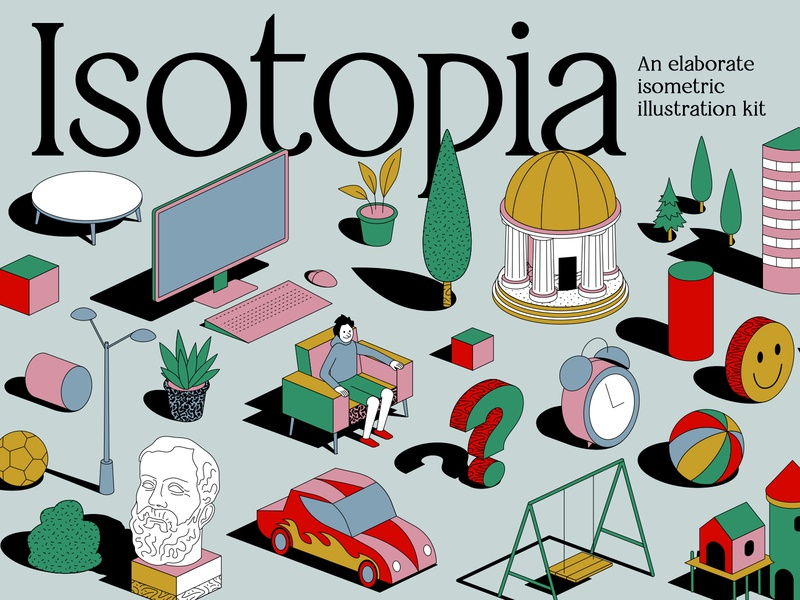 Isotopia - An elaborate isometric illustration kit art assets editable editorial graphics growth illustration illustrations illustrator print resources store style web