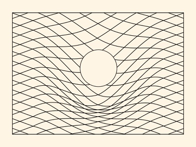 Frame-dragging physics linear geometry vector illustration monochrome