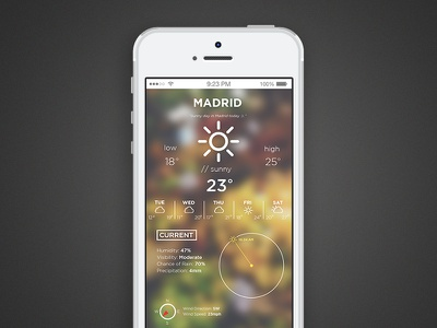 Weather App madrid sun weather app weather sunny ui 2015 blur blurred images iphone
