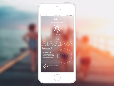 Small concept for a weather app  iphone iconography photoshop days week weather app weather uiux tropical summer bali
