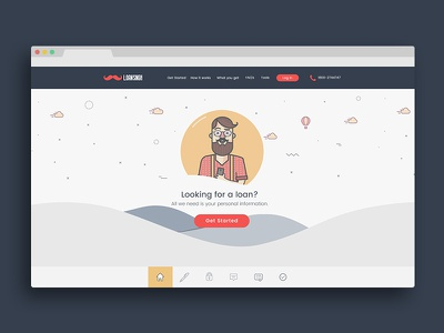Loan Singh Website doodle hills scrolling parallax character illustration illustration flat design webdesign web design