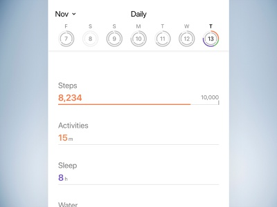 Goals tracking health graphs rings goals ux ui
