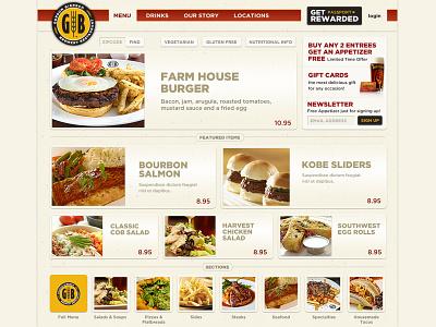 Gordon Biersch web beer restaurant menu ui ux