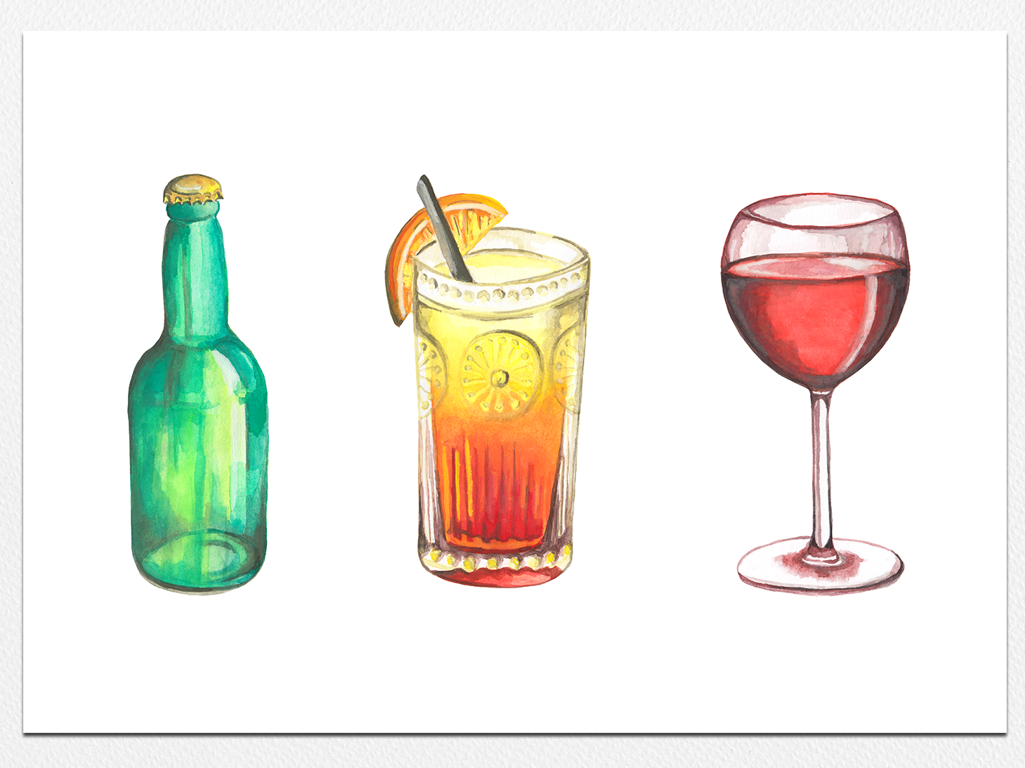 Happy Hour beer art cocktail party happy hour beer bottle cocktail wine glass illistration water color