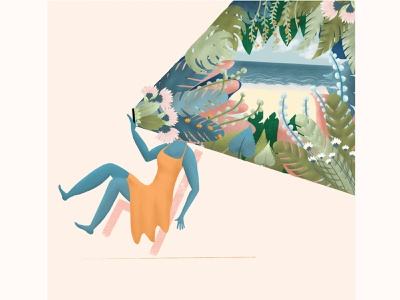 Social Nature screen time outdoors trapped emotions distraction feelings editorial illustration editorial art communication design graphic hello dribbble beach flowers plants nature illustration phone nature art nature illustration