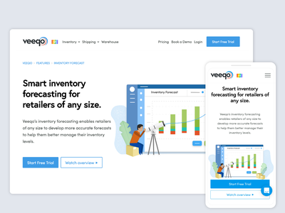 Veeqo's Inventory Forecast Feature digital illustration thumbnail saas website saas landing page character design forcasting vector illustrator vector illustration process website illustration marketing website shipping inventory management software inventory management inventory