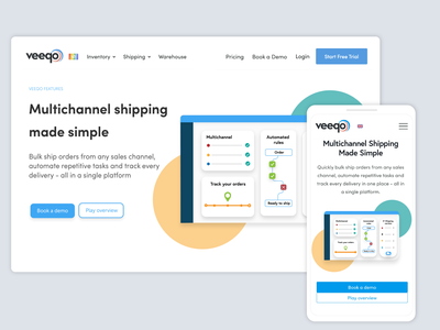 Veeqo Shipping hero page design and illustrations multichannel shipping shipping management website branding communication design infographics graphic hero image hero page webdesign vector illustrator vector illustraion shipping company shipping inventory management software inventory management inventory multichannel