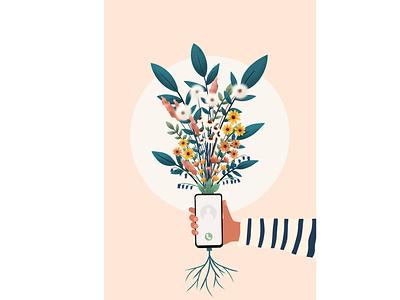 Social distance flower illustration floral floral illustration editorial illustration flowers print illustrator nature illustration nature art nature illustration