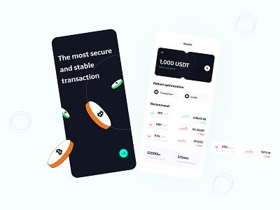 Financial digital currency wallet web page design illustration design ui