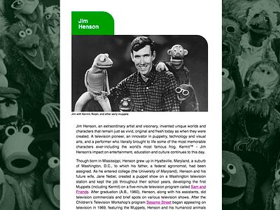 Tribute Website for Jim Henson design web responsive web  design ui