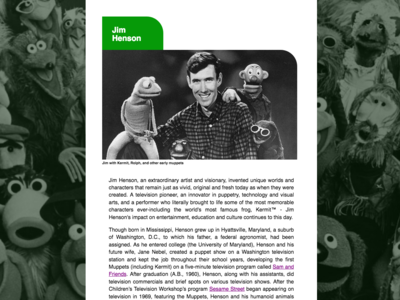 Tribute Website for Jim Henson design web responsive web  design ui