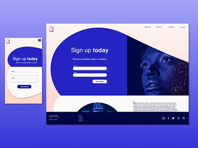 Responsive Landing Page blue violet landing page sketch mobile responsive responsive design website design web  design ui