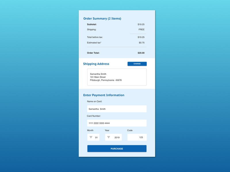 Mobile Credit Card Checkout sketch mobile design dailyui mobile web  design ui