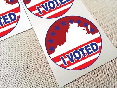 "Virginia ""I Voted"" Sticker print virginia graphic design palette color illustrator vector design sticker"