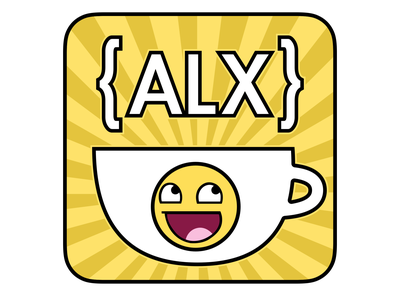 ALX Code & Coffee MeetUp Sticker typography logo yellow sketchapp graphic design design vector sticker