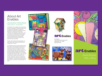 Half-fold brochure for Art Enables non-profit print graphic design indesign
