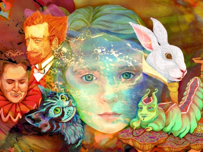 Inside Alice corel wacom intuos alice in wonderland kat phillips katphillips.org inside alice corel painter sketch pad corel painter wacom intuos adobe photoshop wacom tablet noyes museum mad hatter queen of hearts red queen white rabbit cheshire cat caterpillar
