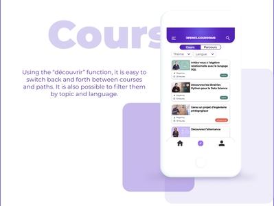 OpenClassrooms mobile app UI