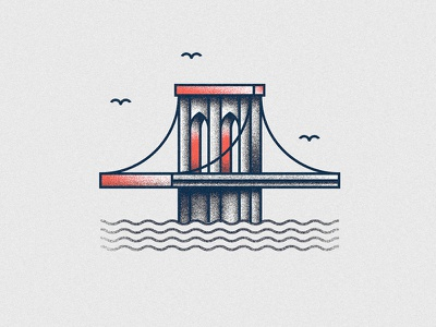 Brooklyn brooklyn bridge vector grain usa illustration icon new york ny