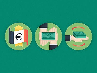 La Bourse icons illustration financial money euro france flag exchange