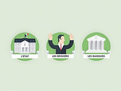 La Bourse illustration icons france financial bank money