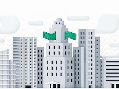 La Bourse illustration financial city buildings skyline money grain