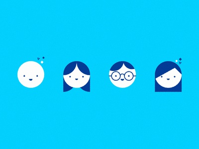 Janssen illustration styleframe faces persons vector blue character