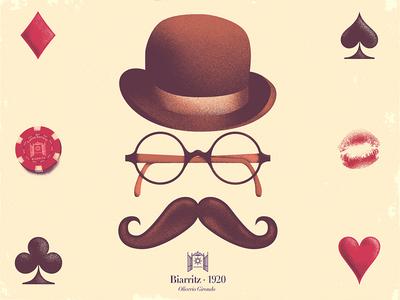 Biarritz illustration editorial poem oliverio girondo biarritz 1920 france vintage mustache casino