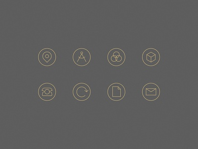 Real estate icons icons system gold thin light minimal real estate