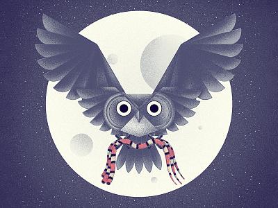 Moon Owl illustration editorial book owl las medias de los flamencos horacio quiroga charley harper wildlife nature birds sky moon