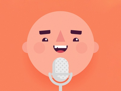 Voice Over character illustration voice over microphone face smile sing