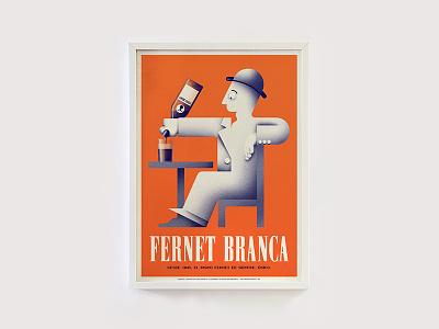 Branca art deco homage tribute argentina poster illustration branca fernet dubonnet cassandre