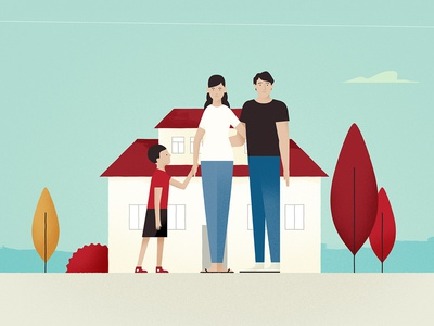 Family styleframe house family illustration
