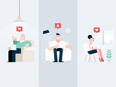 Notifications lounge notification styleframe app flat mobile character illustration