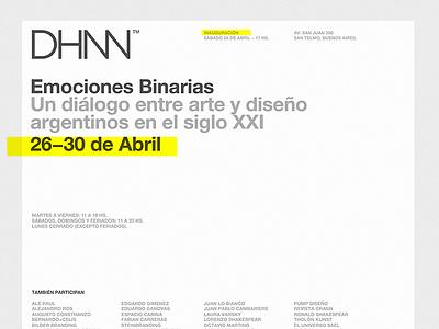 Event cover emociones binarias helvetica exhibition mamba museum invite dhnn